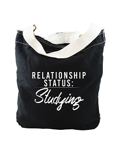 Funny Relationship Status:Studying Black Canvas Slouch Tote Bag