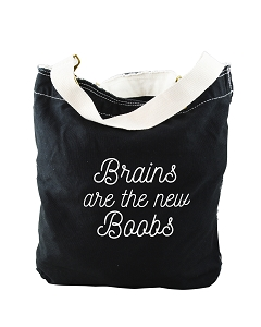 Funny Brains Are The New Boobs Smart Girl Black Canvas Slouch Tote Bag