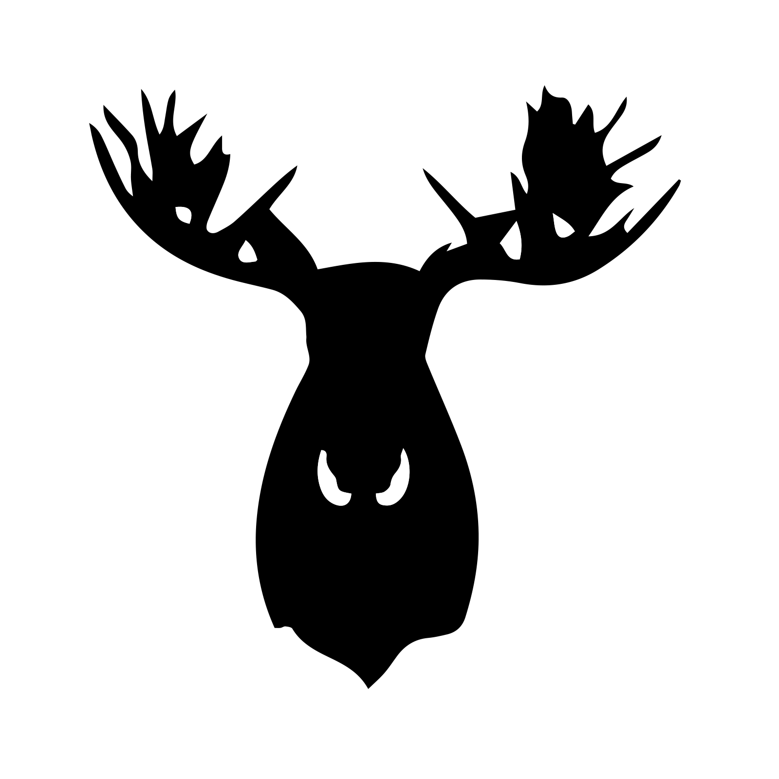 Moose Head Silhouette Snowboard Sticker All Weather Vinyl