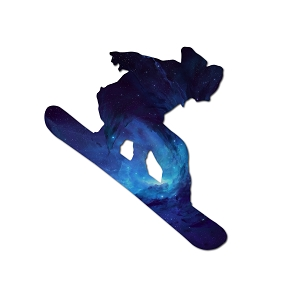 Snowboarder Blue Galaxy Silhouette Color Vinyl Sports Car Laptop Sticker - 6