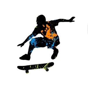 Skateboarder Paint Splatter Color Vinyl Sports Car Laptop Sticker - 6