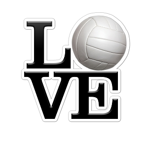 LOVE Volleyball Color Vinyl Sports Car Laptop Sticker - 6