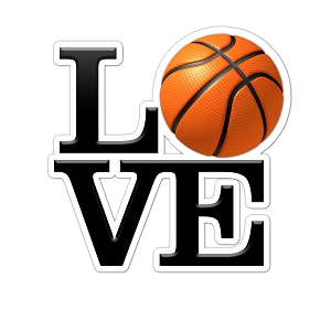 LOVE Basketball Color Vinyl Sports Car Laptop Sticker - 6