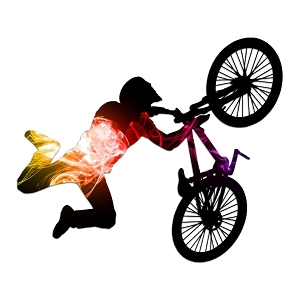 BMX Bike Rider Silhouette Color Vinyl Sports Car Laptop Sticker - 6