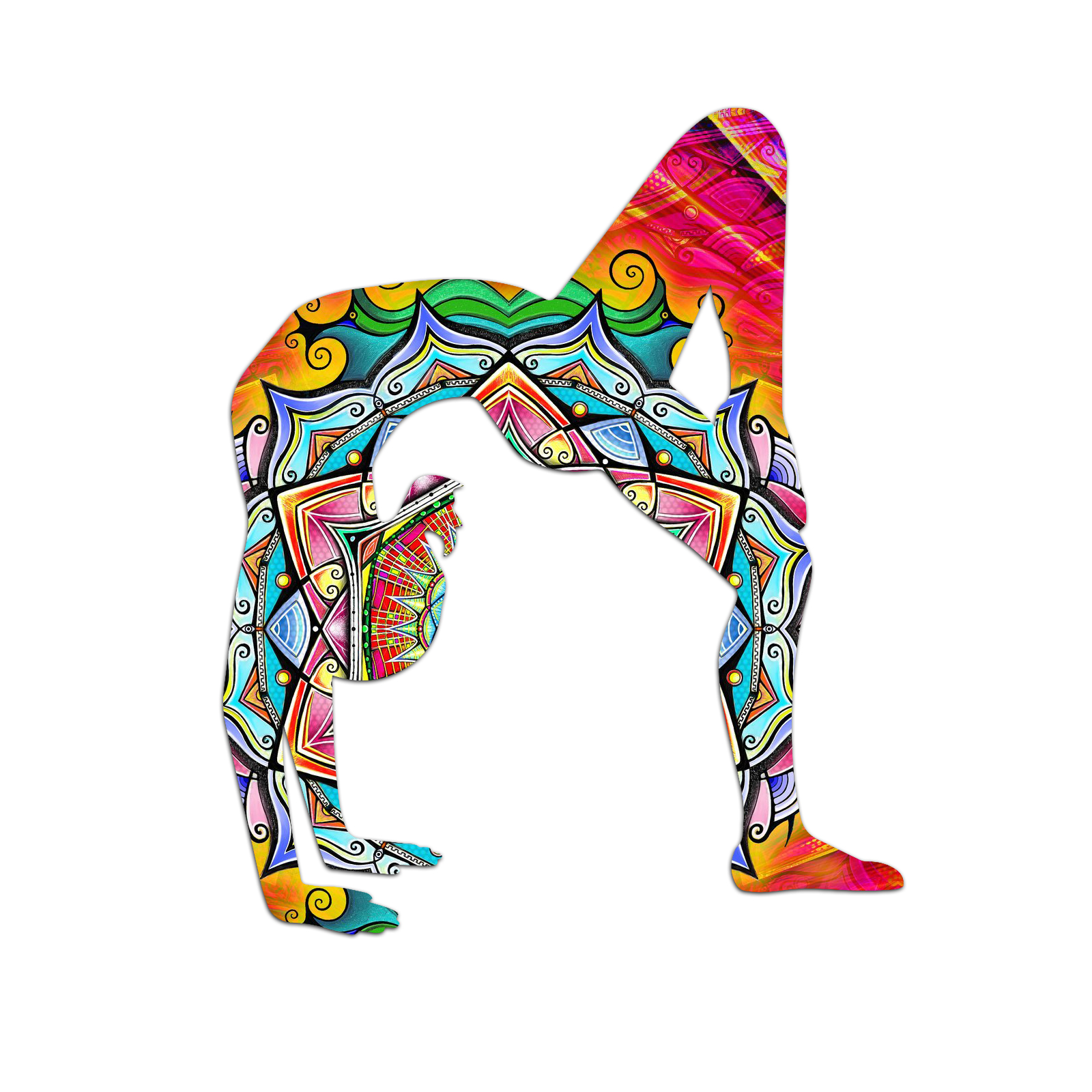 yoga mandala rainbow silhouette color vinyl sports car laptop sticker 6. Black Bedroom Furniture Sets. Home Design Ideas