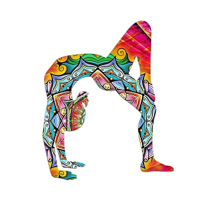 Yoga Mandala Rainbow Silhouette Color Vinyl Sports Car Laptop Sticker - 6