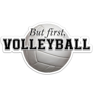 But First, Volleyball Color Vinyl Sports Car Laptop Sticker - 6