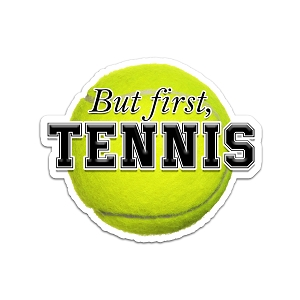But First, Tennis Color Vinyl Sports Car Laptop Sticker - 6