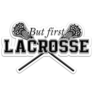 But First, Lacrosse Color Vinyl Sports Car Laptop Sticker - 6