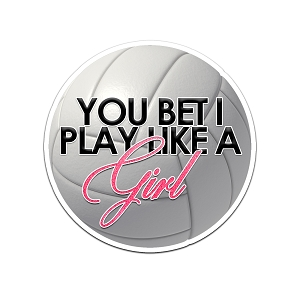 You Bet I Play Like A Girl Volleyball Color Vinyl Sports Car Laptop Sticker - 6