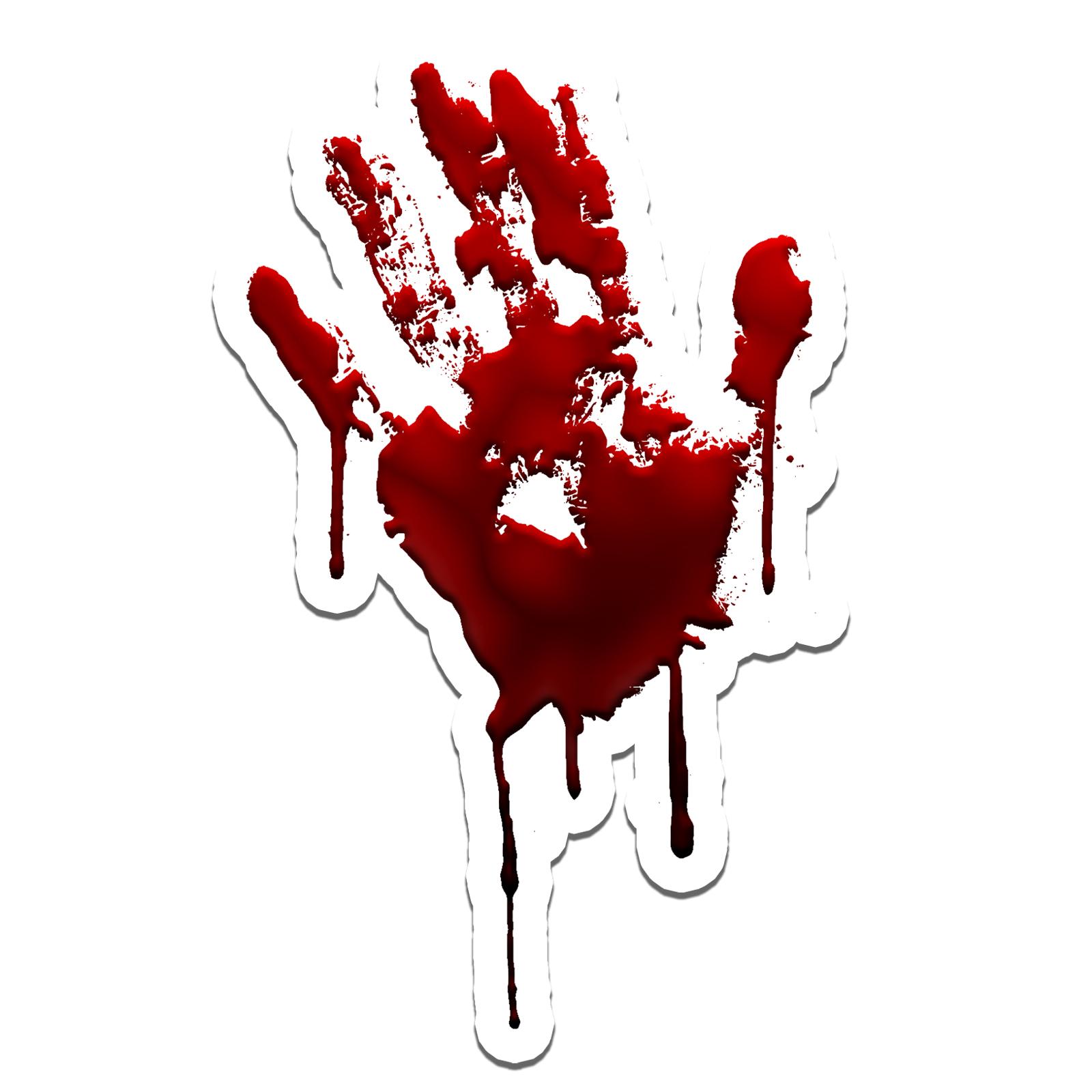 "Bloody Hand Print Zombie Walkers Sticker 5"""
