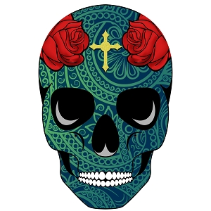 Sugar Skull Teal Red Roses Paisley Day Of The Dead Sticker 4