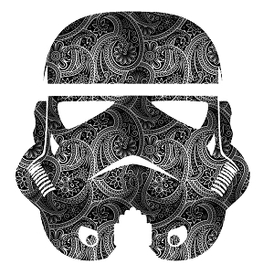 Paisley Black White Storm Trooper Helmet Sticker 5
