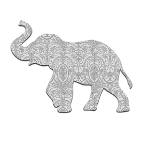 Paisley Elephant Silhouette White Grey Animal Sticker 5