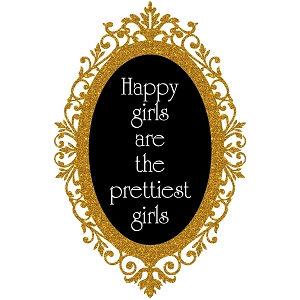 Glitter Cameo Frame Happiest Girls Are The Prettiest Quote Sticker 5