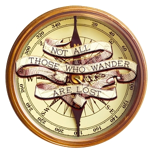 Not All Those Who Wander Are Lost Wooden Compass Sticker 5