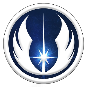 Jedi Inspired Silver Blue Symbol Order Sticker 5
