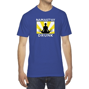 Namast'ay Drunk Funny Yoga Beer Men's Crew Neck Cotton T-Shirt