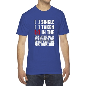 Single Taken In The Gym Lifting Weights Men's Crew Neck Cotton T-Shirt