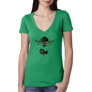 Yoda Inspired Music DJ Headphones Women's Cotton V Neck T-Shirt