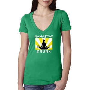 Namast'ay Drunk Funny Yoga Beer Women's Cotton V Neck T-Shirt