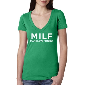 MILF Man I Love Fitness Gym Women's Cotton V Neck T-Shirt