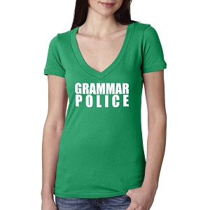 Grammar Police Women's Cotton V Neck T-Shirt