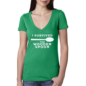 I Survived The Wooden Spoon Women's Cotton V Neck T-Shirt