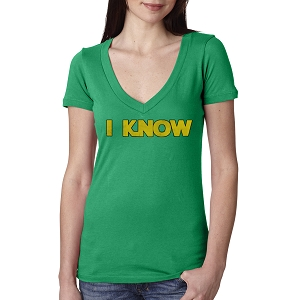 I Know Parody Funny Solo Leia Women's Cotton V Neck T-Shirt