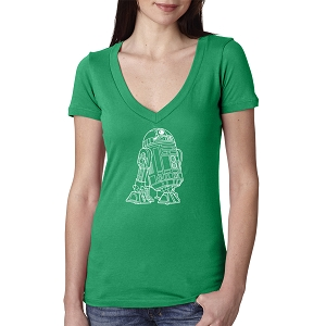 Star Robot Outline Women's Cotton V Neck T-Shirt
