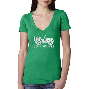 Go Topless Off Roading Vehicle Women's Cotton V Neck T-Shirt