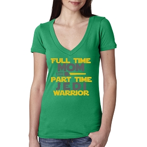 Full Time Mom Part Time Jedi Warrior Women's Cotton V Neck T-Shirt
