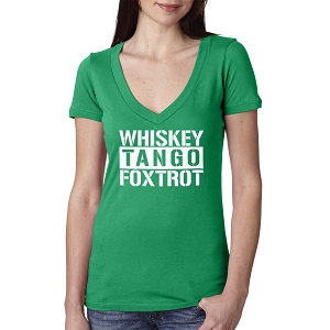 Whiskey Tango Foxtrot Women's Cotton V Neck T-Shirt