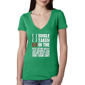 Single Taken In The Gym Lifting Weights Women's Cotton V Neck T-Shirt