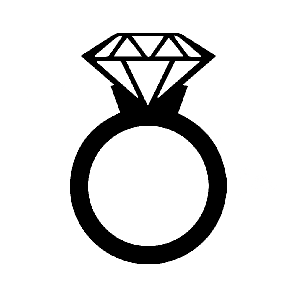 Diamond Wedding Ring Silhouette Vinyl Sticker Car Decal