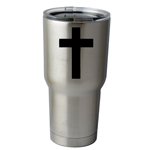 30 oz. SIC Cup with Decal Religious Christian Cross Silhouette Thermos Mug Pint Glass Container