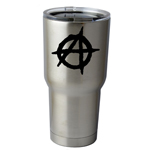 30 oz. SIC Cup with Decal Anarchy Symbol Outline Thermos Mug Pint Glass Container