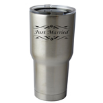 30 oz. SIC Cup with Decal Just Married Bride Groom Wedding Thermos Mug Pint Glass Container