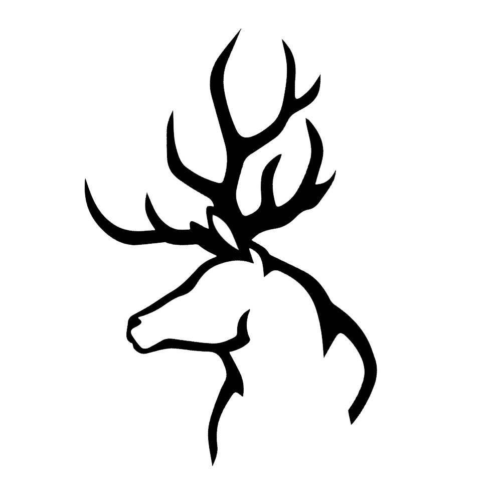 Hunting Deer Buck Antlers Silhouette Vinyl Sticker Car Decal