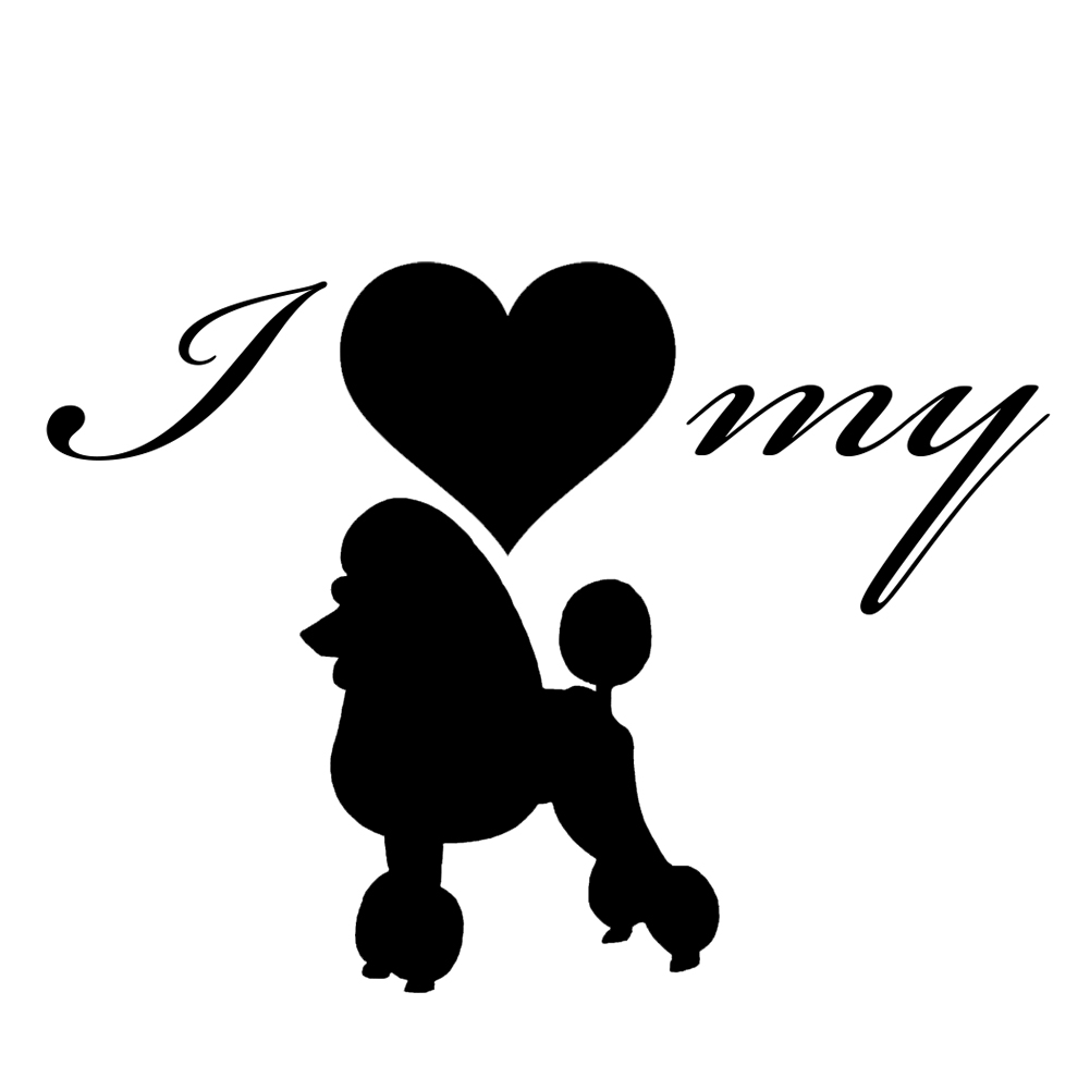 I Love My Poodle Dog Silhouette Heart Vinyl Sticker Car Decal