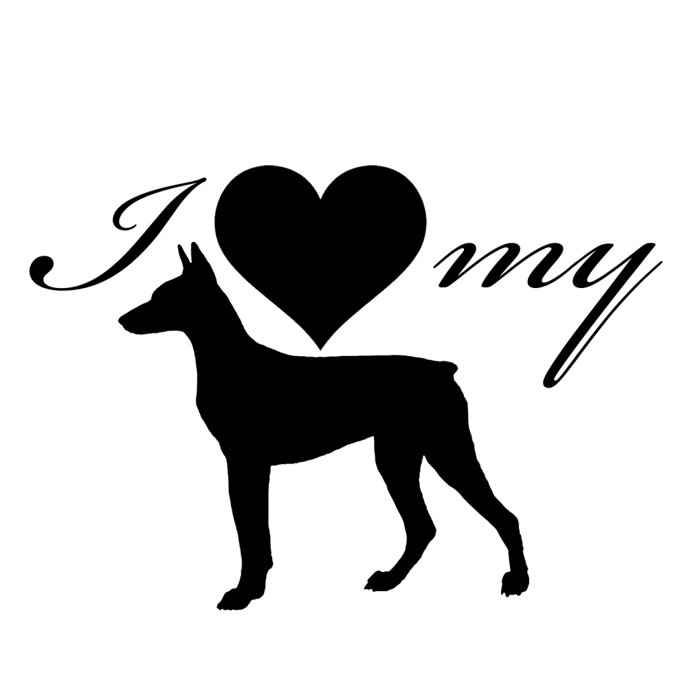 I Love My Doberman Dog Silhouette Heart Vinyl Sticker Car Decal - Sporting dog decals