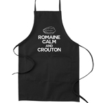 Romaine Calm and Crouton Pun Funny Parody Cooking Baking Kitchen Apron