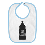 Eat Local Bottle Boobs Breastfed Milk Funny Parody Infant Baby Bib