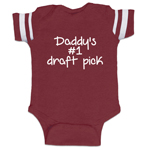Daddy's #1 Draft Pick Funny Baby Boy Jersey Bodysuit Infant