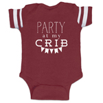 Party At My Crib Funny Baby Boy Jersey Bodysuit Infant