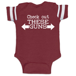 Check Out These Guns Arms Funny Baby Boy Jersey Bodysuit Infant