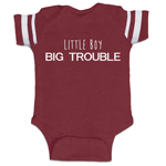 Little Boy Big Trouble Funny Baby Boy Jersey Bodysuit Infant