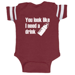 You Look Like I Need A Drink Milk Funny Baby Boy Jersey Bodysuit Infant
