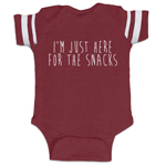 I'm Just Here For The Snacks Funny Baby Boy Jersey Bodysuit Infant