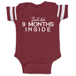 Just Did 9 Months Inside Funny Baby Boy Jersey Bodysuit Infant